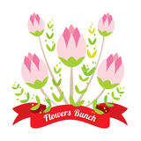 Flowers Bunch With Red Ribbon Stock Images