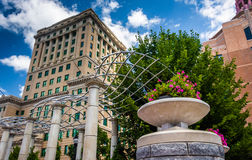 Flowers and Buncombe County Courthouse, in Asheville, North Caro Royalty Free Stock Images