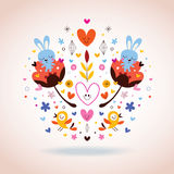Flowers, bunnies, hearts & birds Stock Photo
