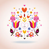 Flowers, bunnies, hearts & birds illustration Stock Image