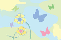 Flowers and butterflies. Flowers and butterflly illustration,  art Royalty Free Stock Photo