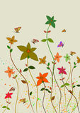 Flowers and butterflies. Floral design Stock Photography