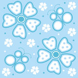Flowers and butterflies. Blue background with flowers and butterflies Stock Illustration
