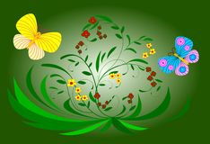 Flowers and butterflies. Two butterflies and flowers on green background royalty free illustration