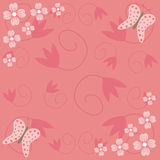 Flowers and butterflies. Red floral background with two butterflies Stock Illustration