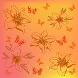 Flowers and butterflies. Abstract  background, flowers lily and butterflies Stock Photo