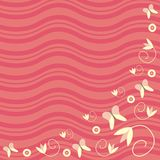 Flowers and butterflies. An illustration in pink. The background consists of wavy pink lines and the foreground consists of butterflies and flowers Royalty Free Illustration