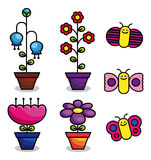 Flowers and butterflies. Vector flowers in pots and butterflies, colorful, isolated on white background Royalty Free Stock Images