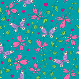 Flowers and butterflies. Seamless floral pattern with butterflies and flowers Stock Photos