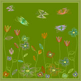 Flowers and butterflies Royalty Free Stock Photography