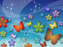 Flowers & Butterflies Stock Photo