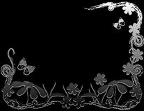 Flowers and Butterflies. Over black background Stock Photo