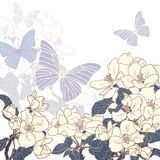 Flowers and butterflies background Royalty Free Stock Photo