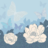 Flowers and butterflies background Royalty Free Stock Photos