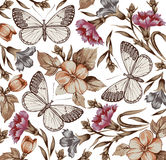 Flowers. Butterflies. Beautiful background. Stock Images