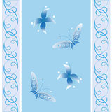 Flowers and butterflies. On a blue background with a pattern Stock Photo