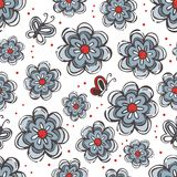 Flowers and butterflies blue red gray vector illustration