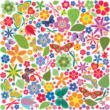 Flowers and butterflies colored pattern Stock Image