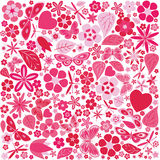 Flowers and butterflies colored pattern Royalty Free Stock Image