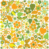 Flowers and butterflies colored pattern Stock Images