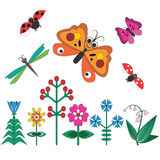 Flowers, butterflies, dragonflies Royalty Free Stock Photo
