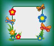 Flowers and butterflies frame background Royalty Free Stock Image