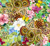 Flowers, butterflies and golden arabic ornament. Floral ornamental background for fashion design. Watercolor seamless Royalty Free Stock Image