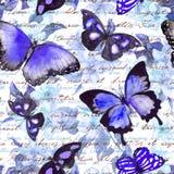 Flowers, butterflies, hand written text note. Watercolor. Seamless pattern Stock Photos