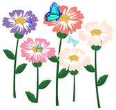 Flowers with butterflies Royalty Free Stock Images