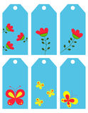 The flowers and butterflies. Labels Stock Image