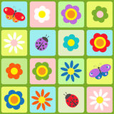 Flowers, butterflies and ladybugs Stock Images