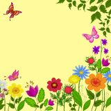 Flowers, butterflies and leaves Royalty Free Stock Image