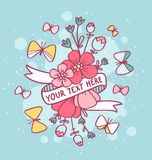 Flowers, butterflies and ribbon Royalty Free Stock Photo