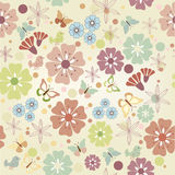 Flowers and butterflies seamless. (colorful background). Vector Illustration Royalty Free Stock Image