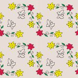 Flowers and butterflies. Seamless pattern of flowers and butterflies Stock Images