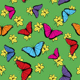Flowers and Butterflies Seamless Pattern Royalty Free Stock Photography