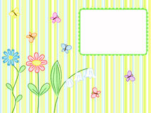 Flowers and butterflies stripped. Striped greeting card with flowers and butterflies Royalty Free Stock Photo