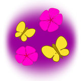 Flowers and Butterflies Royalty Free Stock Images