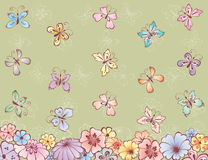 Flowers and butterflies. Vector card of the decorative flowers and butterflies Royalty Free Stock Photo