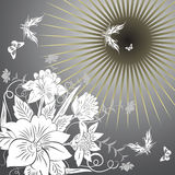Flowers and butterflies. Vector illustration Stock Images