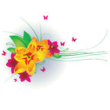 Flowers and butterflies. Vector illustration Royalty Free Stock Image