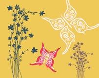 Flowers with Butterflies Paper Cut Flat Design Background. Flowers with Butterflies Vector Paper Cut Flat Design Background stock illustration