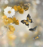 Flowers And Butterflies Watercolor Stock Image