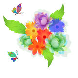 Flowers and butterflies. Flowers and butterflies on white background Stock Images