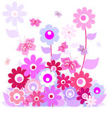 Flowers and butterflies. On a white background Royalty Free Stock Images