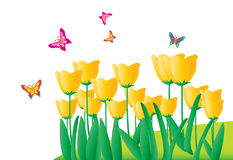 Flowers and butterfliesr (with ai file). Yellow flowers and happy butterflies Royalty Free Stock Photos