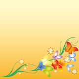 Flowers and butterfly. On the orange background Stock Photo