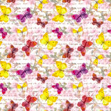 Flowers, butterfly and hand written text letter. Watercolor. Seamless pattern Royalty Free Stock Photo