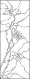 Flowers and butterfly line illustration Stock Image