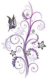 Flowers with butterfly. Purple and black summer flowers with butterfly Stock Photo